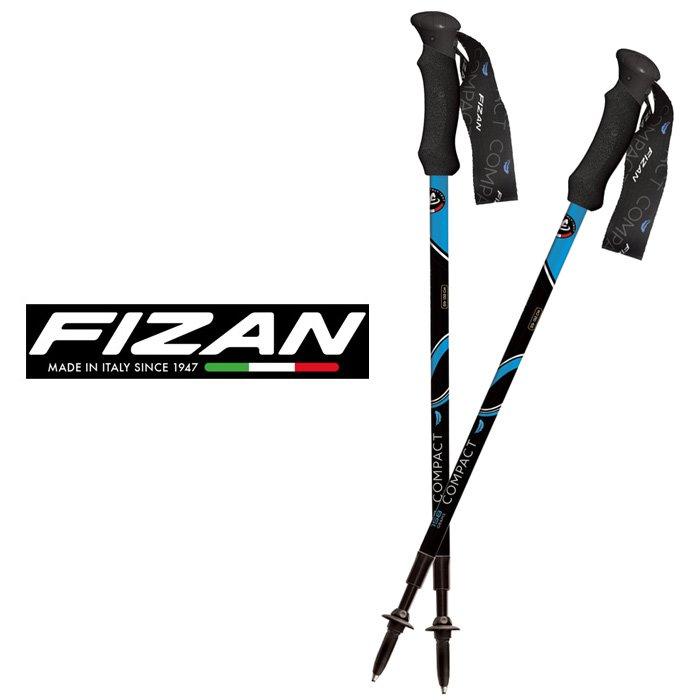 【FIZAN 義大利】超輕三節式健行登山杖 單支 黑/藍 (FZS19.7101.BB)