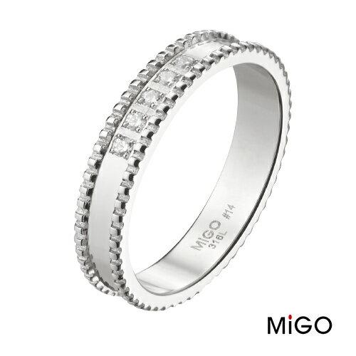 AnnShop~米格MiGO‧漾動白鋼戒指~~男款~鋼飾飾品  情人 SR725