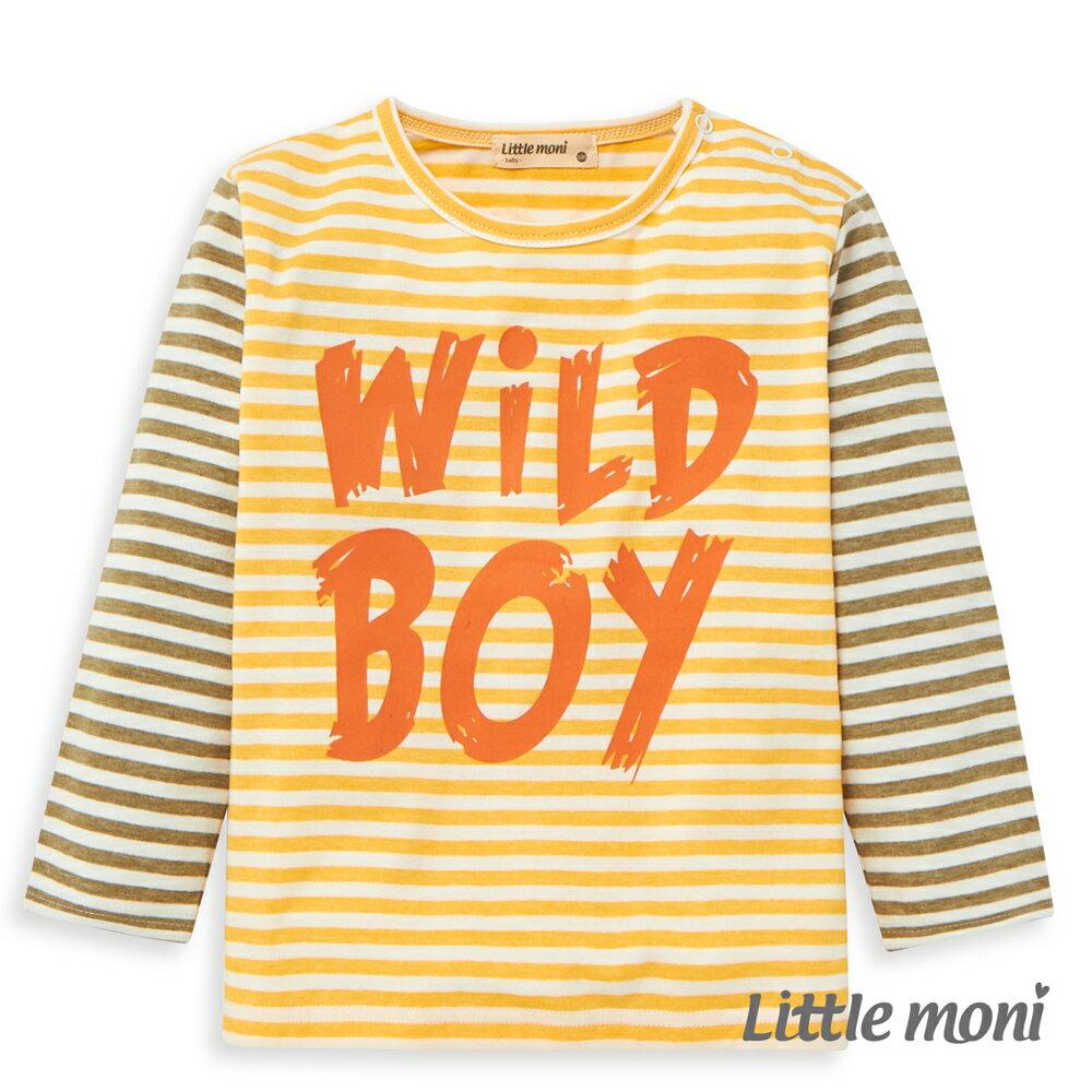 Little moni 條紋拼接長袖上衣-黃色(好窩生活節) 0