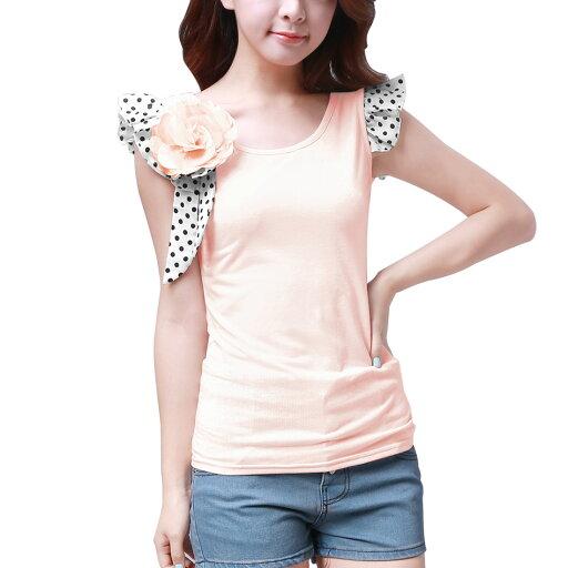 Unique Bargains Women's Sleeveless Round Neck Casual Tops Pink (Size XL / 16) 26e995634f0098e9cb4703f1b5b03db5