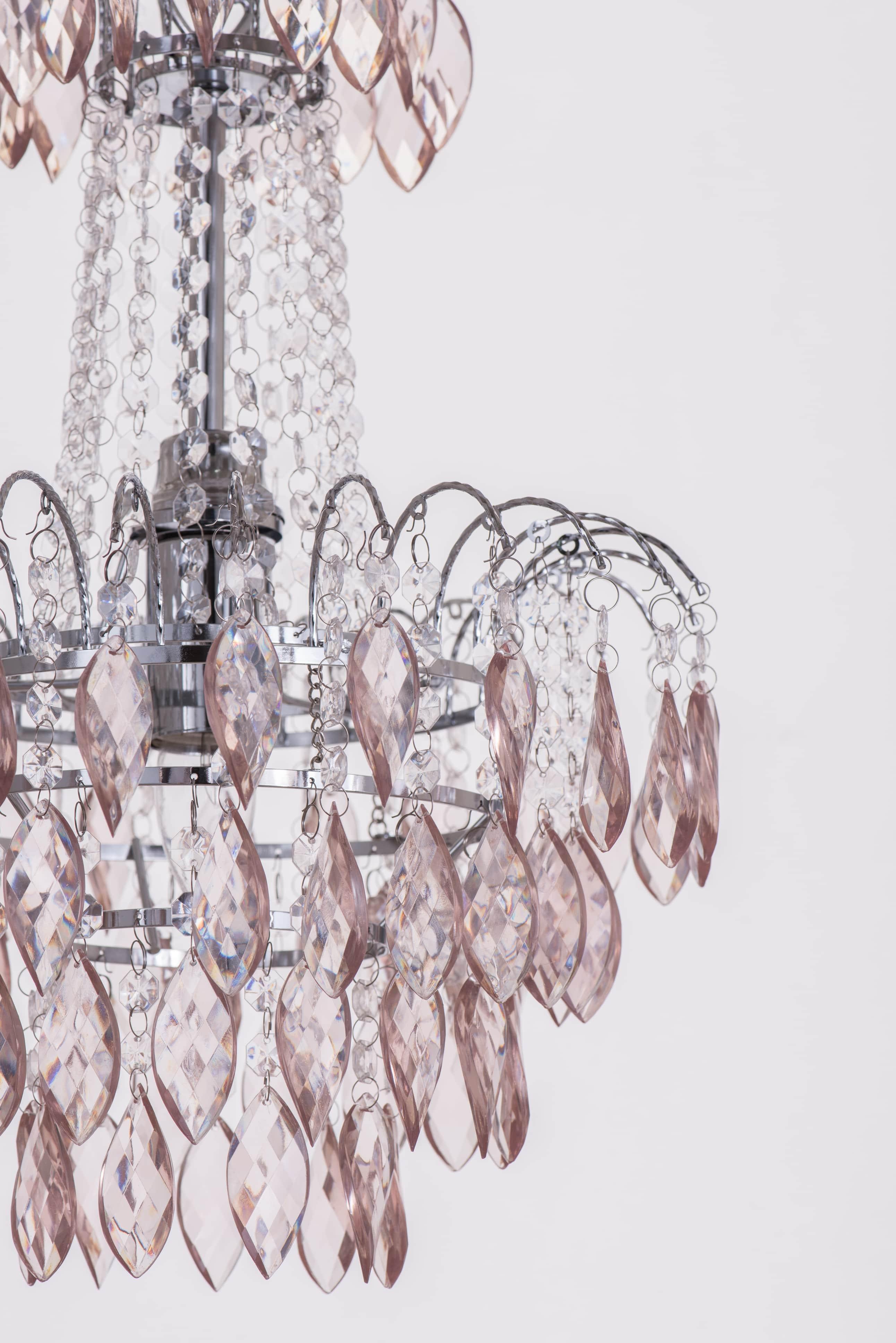紅香檳色八角壓克力珠鍍鉻吊燈-BNL00060 1