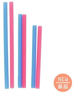 【淘氣寶寶】美國silikids果凍餐具–六入矽膠吸管組(三種尺寸)-紅藍【保證原廠公司貨】