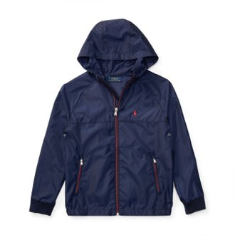 美國百分百【全新真品】Ralph Lauren 小馬 RL 輕量 風衣 連帽 外套 騎士 夾克 POLO 深藍 青年版 I738