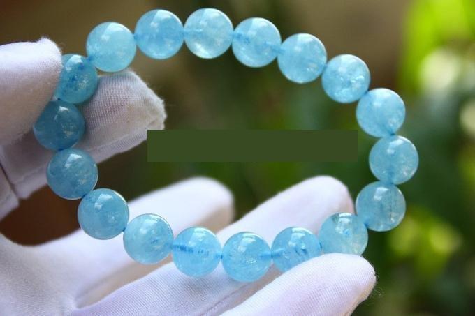 海藍寶手鏈10MM 水晶海藍寶手鏈 女士手鏈