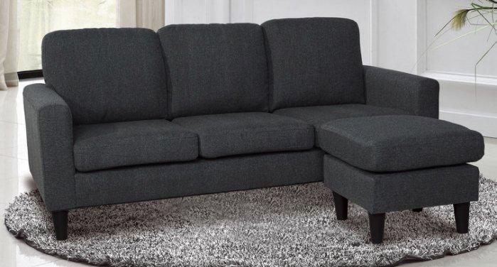 【尚品傢俱】JF-669-1 奧斯卡三人鐵灰色布沙發