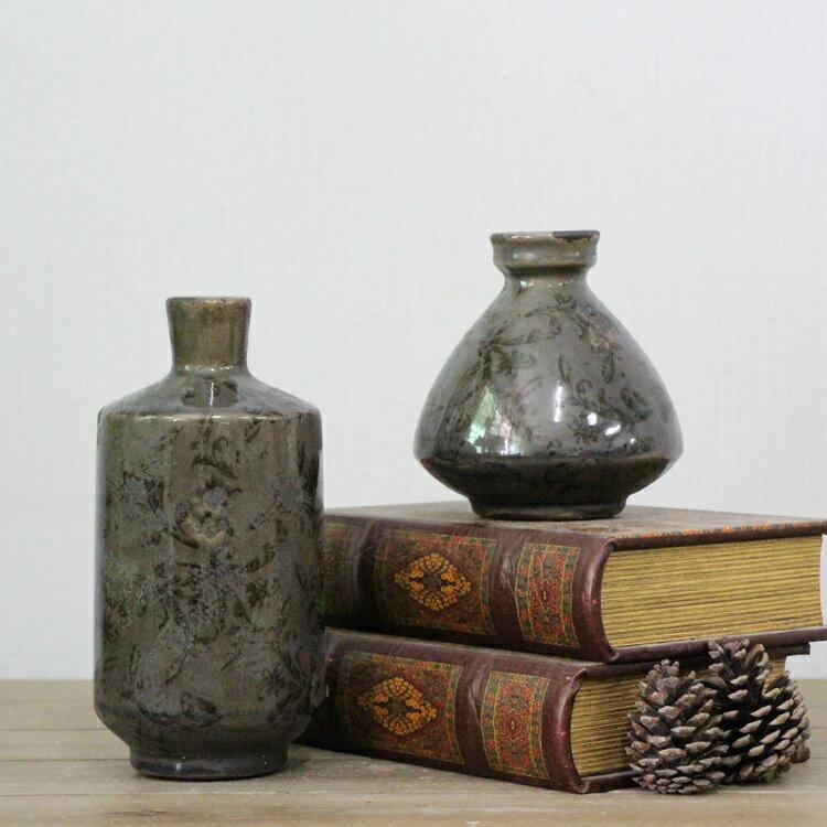 歐式復古陶瓷花瓶 小花瓶擺件 家居裝飾品 復古做舊黑色 1入