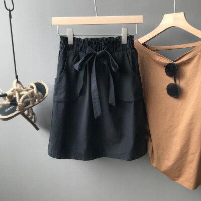 韓系女裝黑色a字裙高腰半身裙短裙樂天時尚館。預購