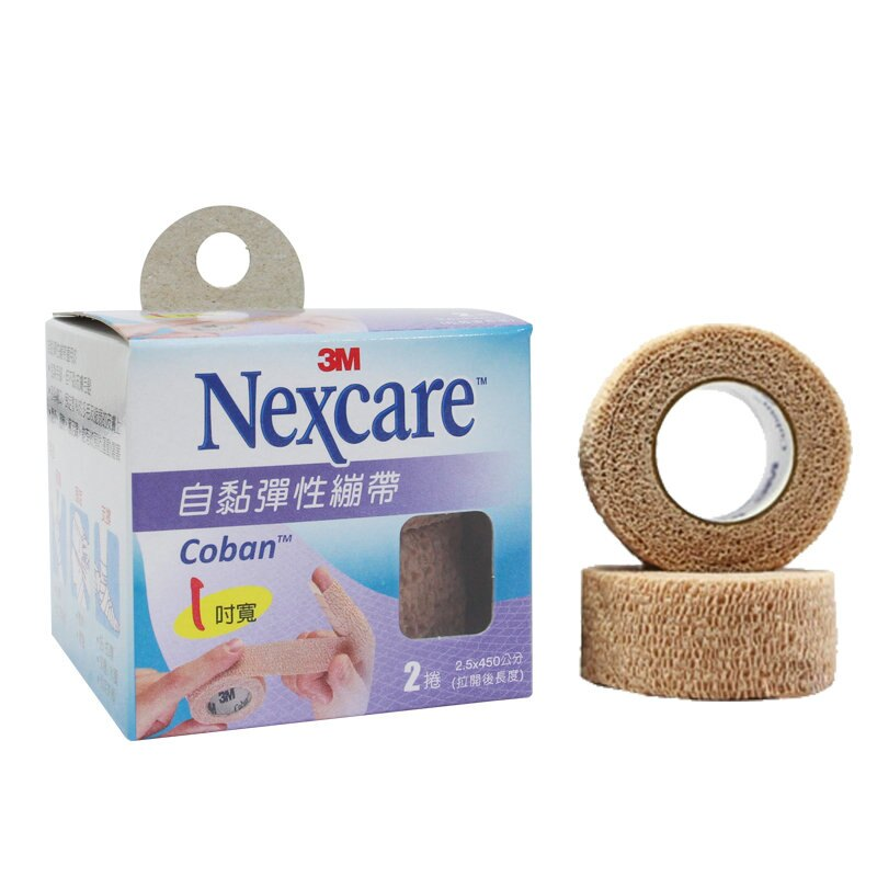 【3M Nexcare】 自黏彈性繃帶 膚色1吋(2捲) - 限時優惠好康折扣