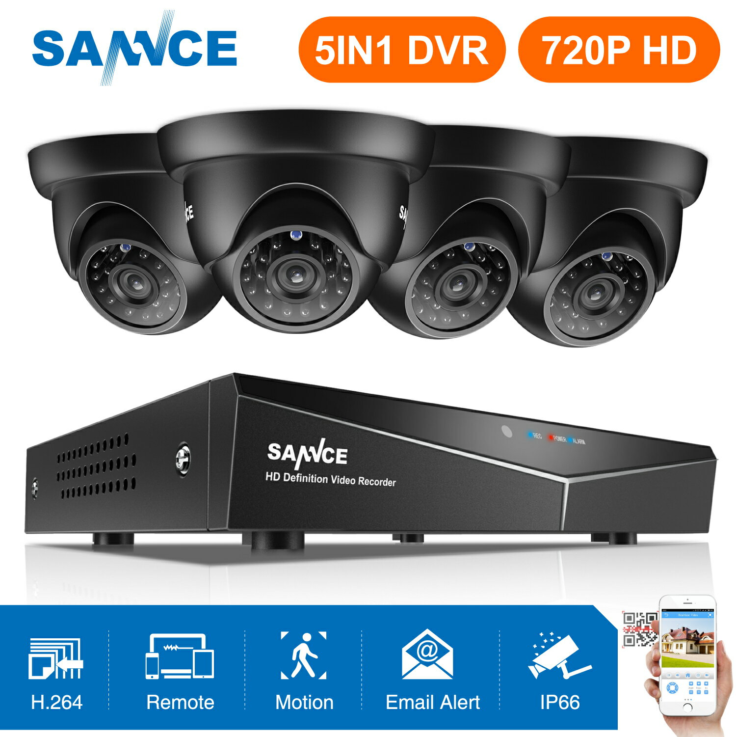 Sannce 8CH 4PCS 720P Video Surveillance System Night Vision Cameras With No  HDD