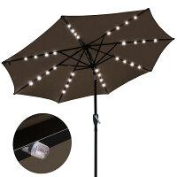 9' Patio Umbrella w/ Pre-Installed 32 Solar Powered LEDs - No Tools Needed
