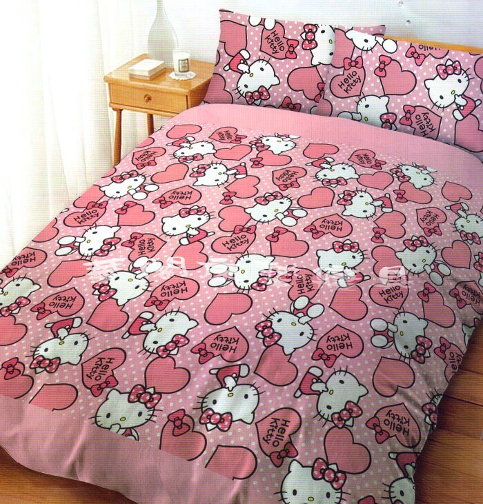 *華閣床墊寢具*《HELLO KITTY-粉紅佳人》雙人加大床包兩用被套四件組 台灣三麗鷗授權 MIT