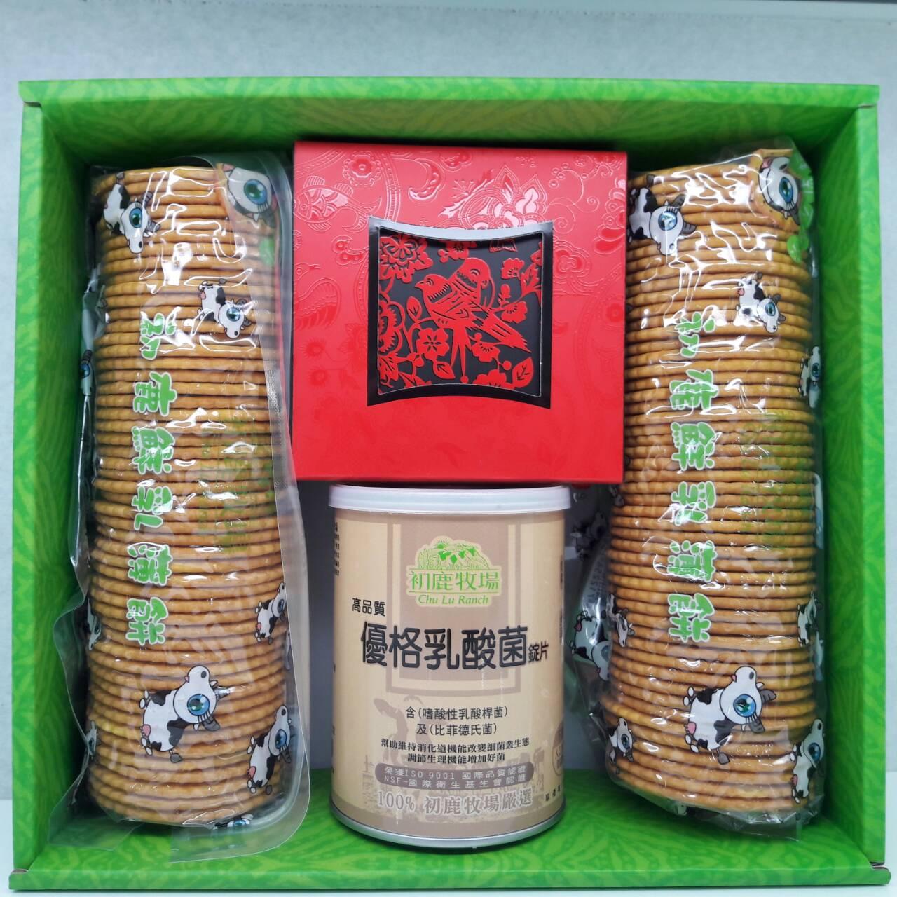 初鹿牧場|春節禮盒B(鮮乳薄餅2入+優格酸錠1入+牛奶糖1入)