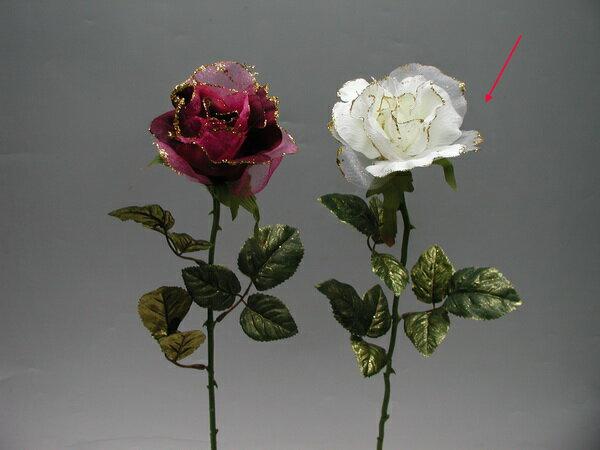 ★超低價★單支金邊玫瑰花-乳白 / 人造花 空間 景觀 佈置 造景