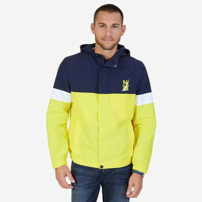 美國百分百【全新真品】NAUTICA 帆船牌 運動外套 連帽 夾克 風衣 休閒 遊艇 拼色 深藍黃色 XS號 I680