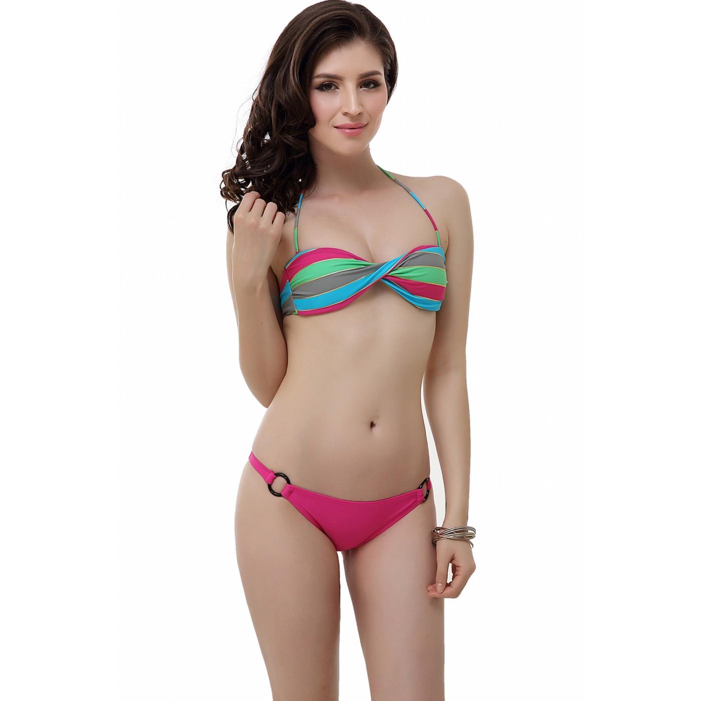 a75af76206552 Luxury Lane  Miss Adola Women s Bikini Top   Bottom 2-Piece Swimwear ...
