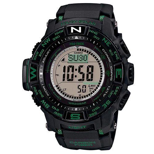 CASIO PRO TREK 登山錶 PRW-S3500-1三大感應器電波專業登山腕錶/黑綠53.4mm