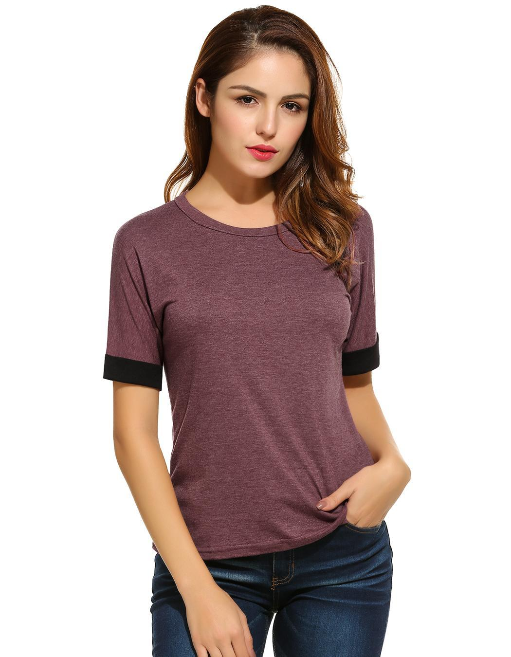 Women Casual Short Patchwork Sleeve Comfy Loose T-Shirt Tops 3