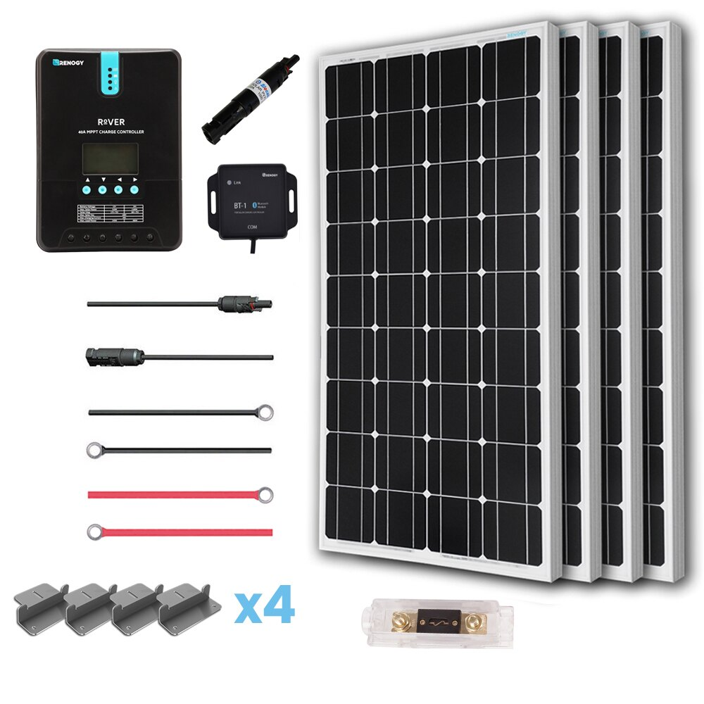 Renogy 400 Watt 12 Volt Off Grid Solar Premium Kit with Monocrystalline Solar Panel and 40A MPPT Rover Controller 0