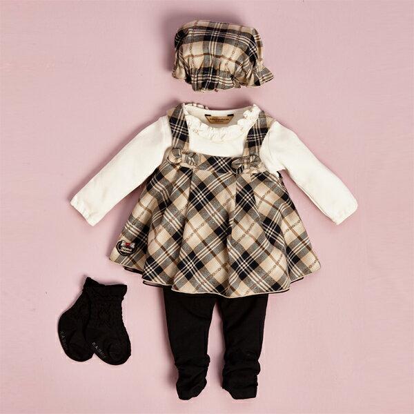 【金安德森】寶寶禮盒-可愛小蝴蝶結背心裙套裝 (彌月禮盒) 卡格 / 紅格