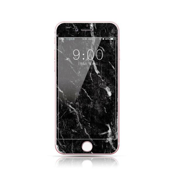 現貨iPhone876滿版i8保護貼大理石紋3D全屏卡通i7玻璃貼浮雕不碎邊軟邊i6保護膜6s鋼化膜【GP美貼】
