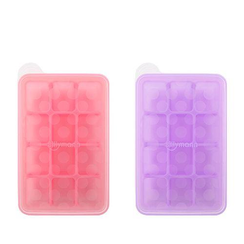 韓國sillymann 100%鉑金矽膠副食品分裝盒-12格(粉色/紫色)★愛兒麗婦幼用品★