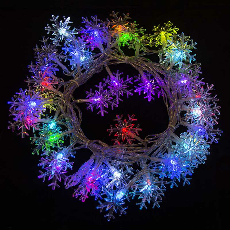 aleko el50ledsnowrgb 50 led multicolor snowflake string light christmas light 16 feet 0