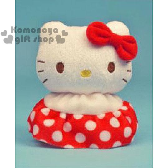 〔小禮堂〕Hello Kitty 造型絨毛沙包娃娃《S.紅.點點裙.圓身體》
