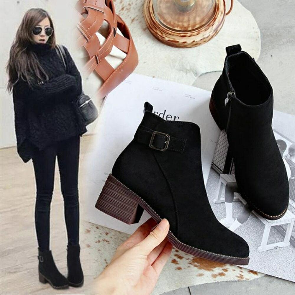 短靴 靴子女短靴秋冬新款ins馬丁靴女短筒高跟粗跟網紅加絨瘦瘦靴 領券下定更優惠