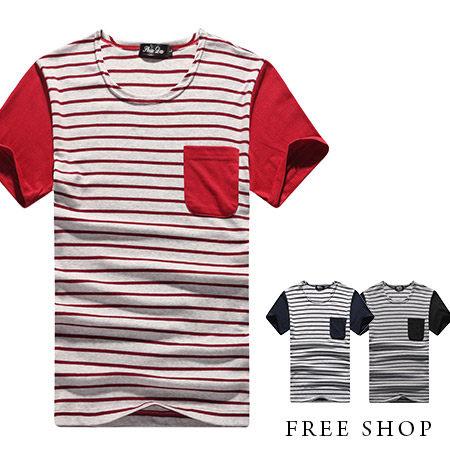 ~全店399~Free Shop~QR05027~美式休閒簡約條紋拼接口袋圓領棉質短T短袖