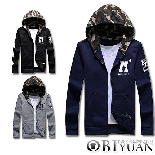 連帽外套【F30085】OBI YUAN韓版軍裝星星袖迷彩拼接保暖刷毛連帽外套共3色