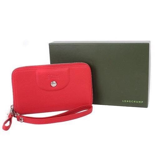 【LONGCHAMP】 Le Pliage Cuir系列小羊皮手拿/零錢包(紅)【全店免運】 4