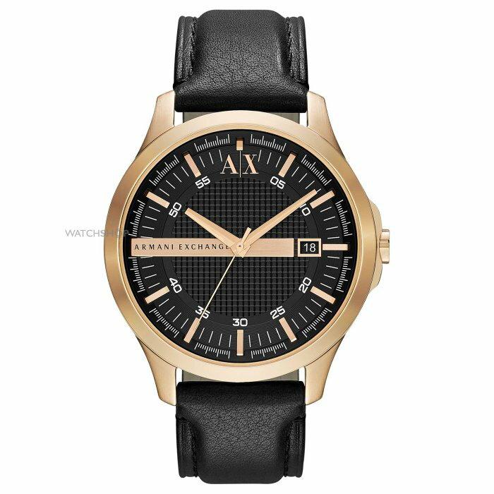 美國百分百【Armani Exchange】AX 手錶 腕錶 雅痞 皮錶帶 阿曼尼 不鏽鋼 黑金 AX2129 G347