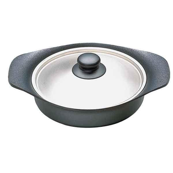 日本【柳宗理】南部鐵器雙耳淺鍋22cm(附不鏽鋼蓋)