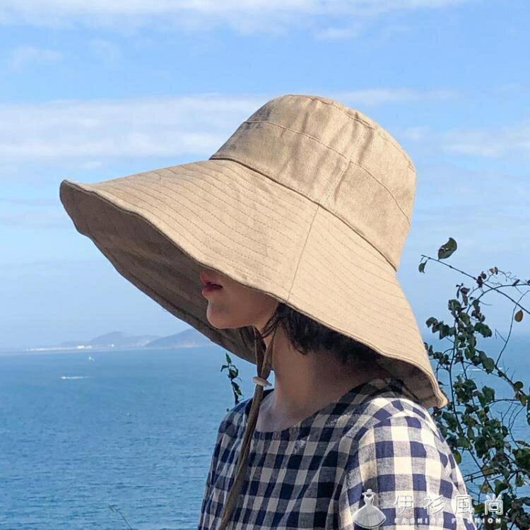 日系純色大檐漁夫帽女夏季可摺疊太陽帽防曬遮陽帽韓版百搭帽子潮