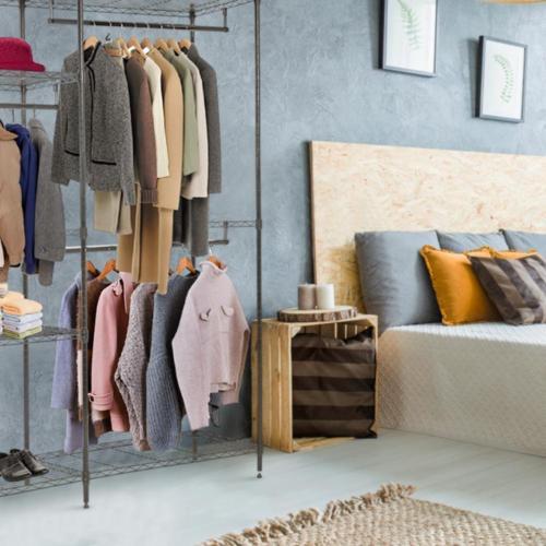 Hanging Closet Organizer And Storage Clothes Rack Sturdy 3 Rod Garment Rack  2