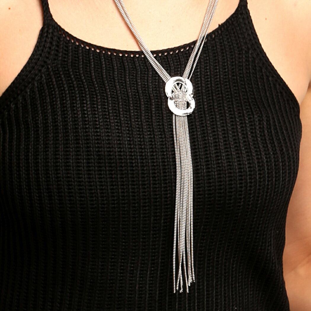 Rhinestone Metal Pendant Chain Statement Jewelry Necklace 5