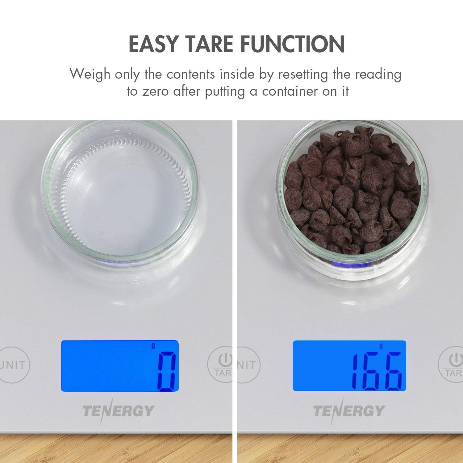 Tenergy Digital Kitchen Scale, Touch Sensitive Food Scale with Backlit LCD  Display and Tare Function, Tempered Glass Scale for