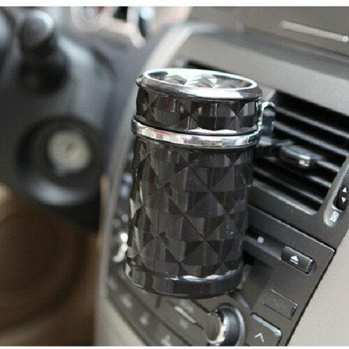 鑽石切面煙灰缸 車用掀蓋 菸灰缸 煙灰缸 LED燈 杯架 藍光 黑色 沂軒 A0276