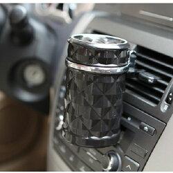 鑽石切面煙灰缸 車用掀蓋 菸灰缸 煙灰缸 LED燈 杯架 藍光 黑色 沂軒精品 A0276