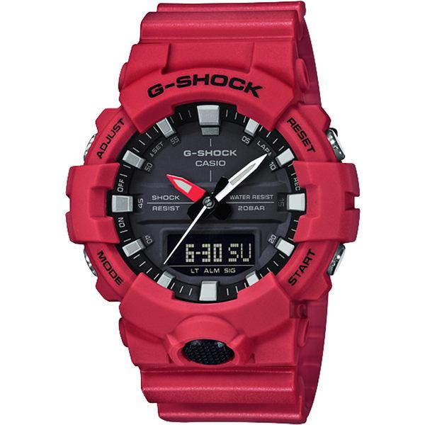 比漾廣場 BEYONDPLAZA CASIO 卡西歐 G-SHOCK 獨立秒針雙顯手錶-紅 GA-800-4ADR /  GA-800-4A