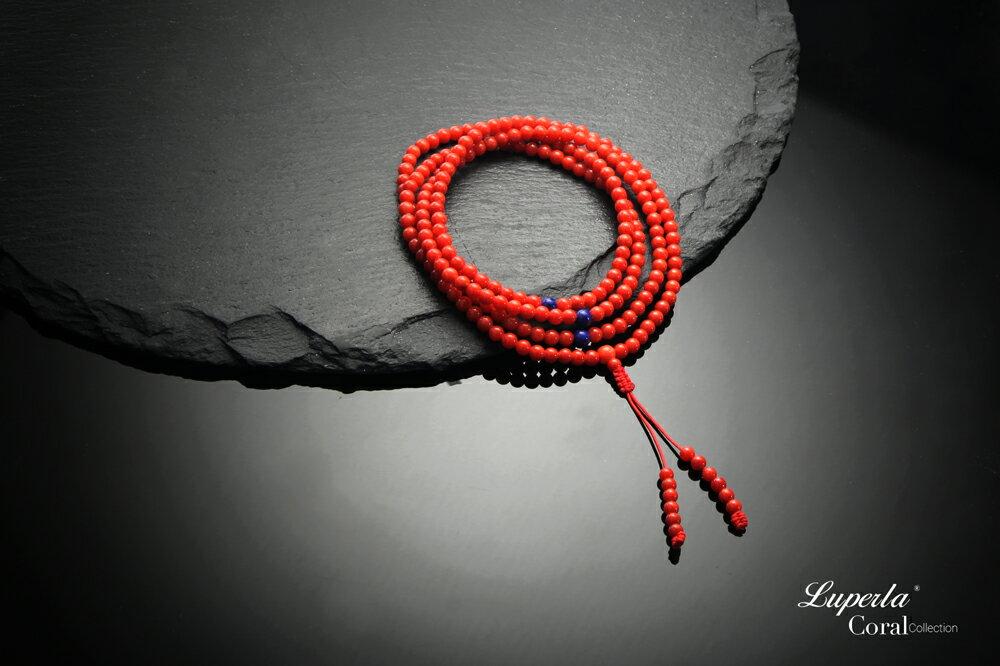 大東山珠寶 頂級天然全紅珊瑚 3mm  216顆 持珠念珠-青金石 4