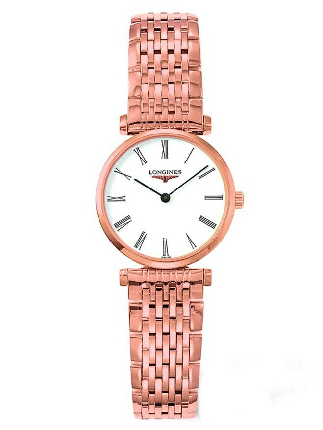 LONGINES L42091918玫瑰金嘉嵐石英超薄經典腕錶/白面24mm