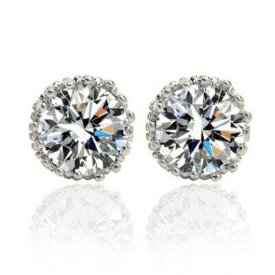 ~純銀耳環鍍白金鑲鑽耳飾~ 完美圓形七夕情人節 女飾品73cr11~ ~~米蘭 ~