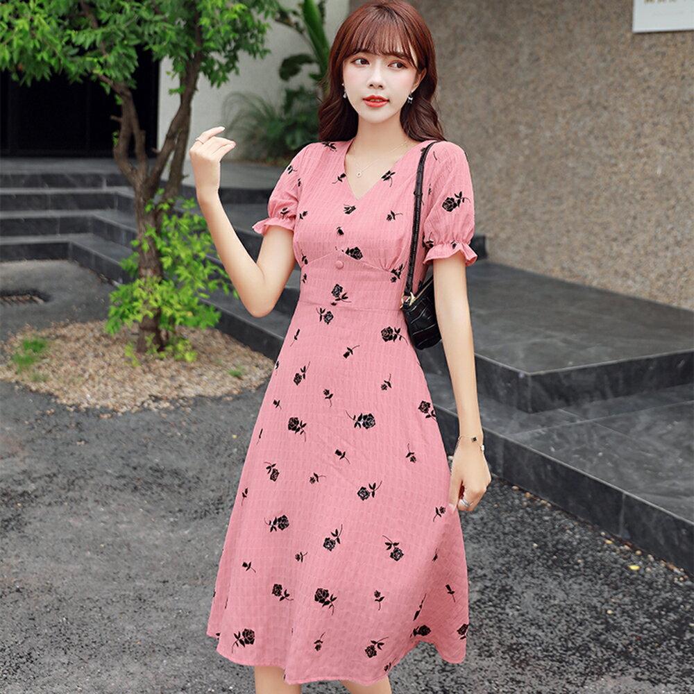印花雪紡收腰連身裙洋裝(圖片色S~XL)*ORead* - 限時優惠好康折扣