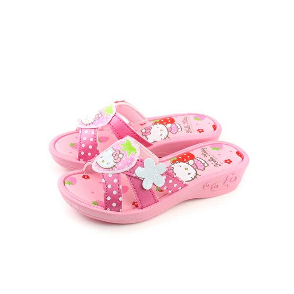 Hello Kitty 凱蒂貓 KITTY 拖鞋 粉紅色 中童 no735