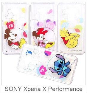 SONYXperiaXPerformance迪士尼字母泡泡系列軟膠透明殼彩繪手機殼保護殼手機套透明殼軟殼殼