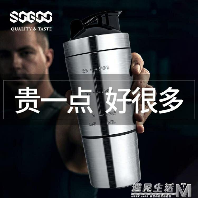 德國索高健身搖搖杯刻度運動水杯子男大容量蛋白營養粉不銹鋼搖杯