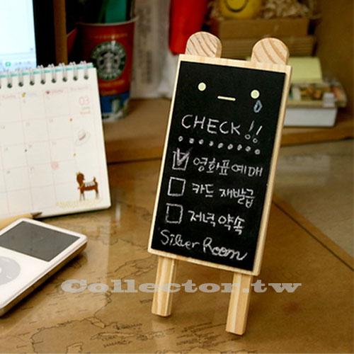 【L14121301】韓版可愛小熊原木迷你小黑板 留言板 寫字板 辦公室居家文具