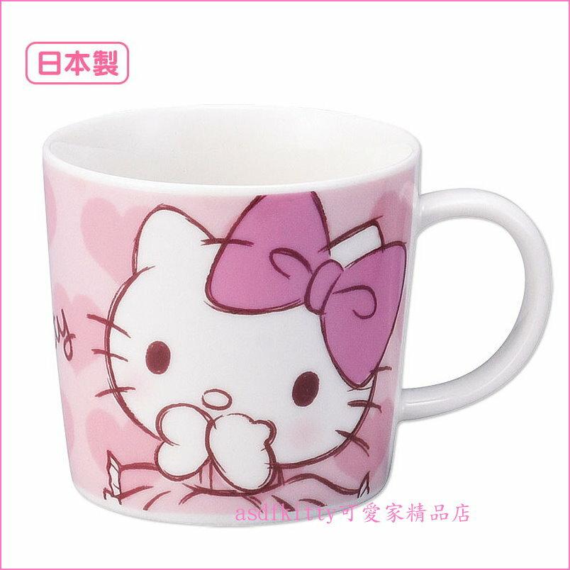 asdfkitty可愛家☆日本金正陶器KITTY粉愛心陶瓷馬克杯-可微波-日本製