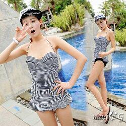 顯瘦 泳裝 甜美條紋鋼圈泳裝+泳褲 兩件式 比基尼 泳衣 橘魔法 magic G 現貨